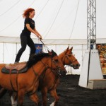 Cavalia performer Katie Cox demonstrates 'Roman Riding'