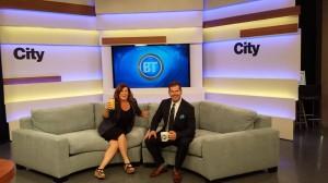Bridget Ryan and Ryan Jespersen on the set of BT