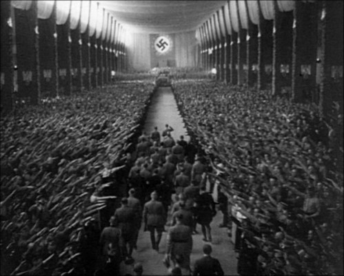 From Triumph of the Will, 1935, by Leni Riefenstahl